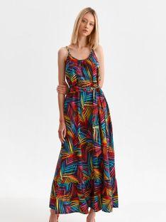 Sukienka maxi na ramiączkach w kolorowe liście