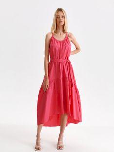 Sukienka midi na cienkich ramiączkach z wiązaniem w pasie