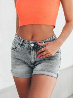 Krótkie spodenki damskie jeansowe 006WLR - szare