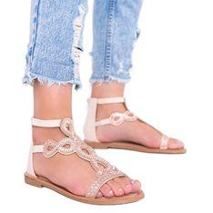 Beżowe sandały ozdobione cyrkoniami Cersi beżowy