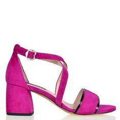 Lizard shoes - Fuksja zamszowe sandały z czarnym akcentem na