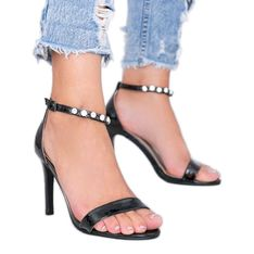 Czarne sandały na szpilce Sweet Kitty