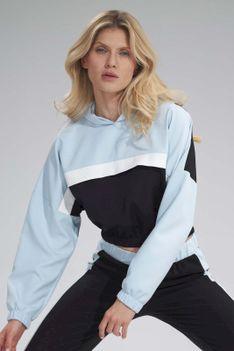 Dwukolorowa Krótka Bluza z Kapturem - Czarno-Niebieska
