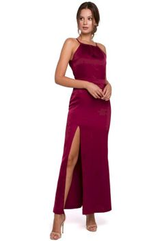 Bordowa Maxi Sukienka z Dekoltem Holter Neck