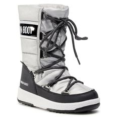 Śniegowce MOON BOOT - Jr G.Quilted Wp 34051400006 M Silver/Black