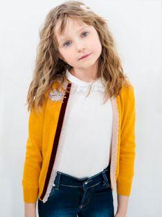 Bawełniany sweter dziecięcy z ozdobną muszką Anima by Justyna Steczkowska