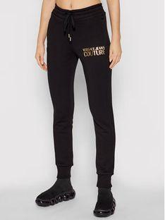 Versace Jeans Couture Spodnie dresowe Logo Foil 71HAAT04 Czarny Regular Fit