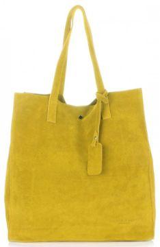 Vittoria Gotti Uniwersalne Torebki Skórzane z wysokiej jakości Zamszu Naturalnego Włoski Shopper w rozmiarze XXL Żółty (kolory)
