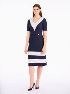 Dzianinowa sukienka z dekoltem w prążki Potis & Verso VIOLA
