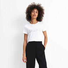 Mohito - T-shirt z błyszczącym napisem - Biały