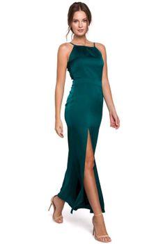 Zielona Maxi Sukienka z Dekoltem Holter Neck