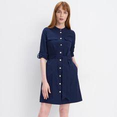 Mohito - Koszulowa sukienka z paskiem - Niebieski