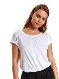 T-shirt damski z szerokim dekoltem i kokardką