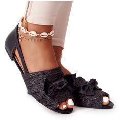 Płaskie Sandały Z Plecionką Lu Boo Czarne