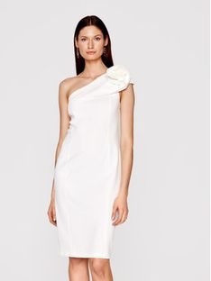 Babylon Sukienka koktajlowa N_MF5012 Biały Slim Fit