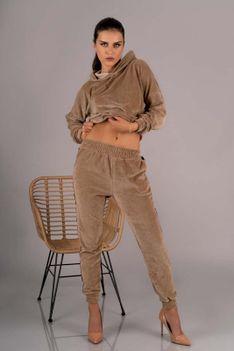 Dres Bluza i Spodnie z Pluszu - Kamelowy