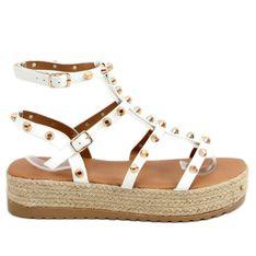 Sandałki espadryle z ćwiekami białe ME01 White
