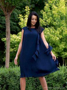 Plisowana sukienka z ozdobną falbaną Potis & Verso VINO