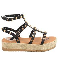 Sandałki espadryle z ćwiekami czarne ME01 Black