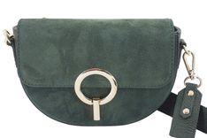 Modna torebka wizytowa skórzana - Zielona ciemna