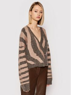Remain Kardigan Cami Cardigan Knit Zebra Print RM331 Brązowy Regular Fit