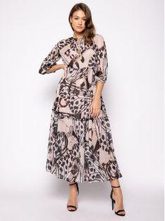 Trussardi Sukienka koktajlowa Long Fil Coupe Butterfly Print 56D00350 Brązowy Regular Fit