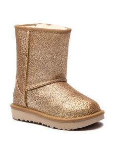 Ugg Buty T Classic Short II Glitter 1098491T Złoty