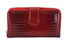 Portfel skórzany damski lakierowany - Czerwony