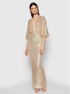 Elisabetta Franchi Sukienka wieczorowa AB-014-11E2-V560 Złoty Slim Fit