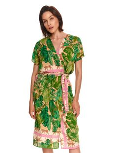 Kopertowa sukienka z wiązaniem, w egzotyczny nadruk