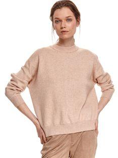 Beżowy pudełkowy sweter