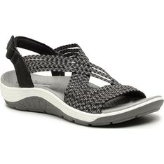 Sandały damskie Skechers z tworzywa sztucznego casual na lato z klamrą