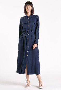 Sukienka midi zapinana na guziki