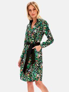Kwiatowa sukienka-szmizjerka z wyrazistym pasem Potis & Verso GOYA