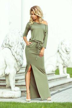 Oliwkowa Dzianinowa Maxi Sukienka z Rozporkiem