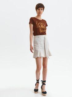 Spódnica mini z paskiem i falbanką