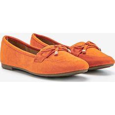 Mokasyny pomarańczowe płaskie casualowe bez zapięcia