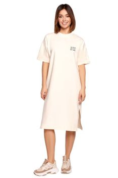 Swobodna Sukienka Bawełniana -Śmietankowa