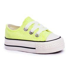 FRROCK Dziecięce Trampki Brokatowe Limonka Neon Misty żółte