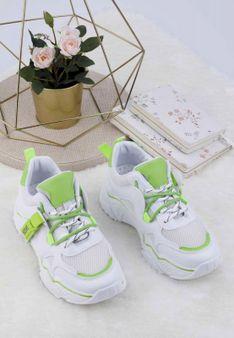 Sneakersy biało zielone Lydie