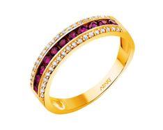 Złoty pierścionek z rubinami syntetycznymi i cyrkoniami