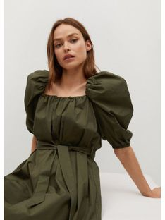 Mango Sukienka codzienna Pope 87075666 Zielony Regular Fit