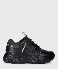Czarne skórzane sneakersy damskie