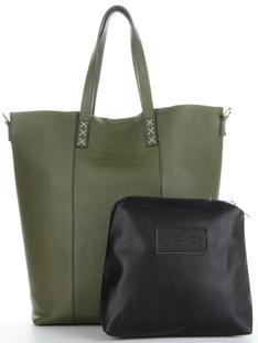 Firmowa Torebka Skórzana Uniwersalny Włoski Shopper XL do noszenia na co dzień firmy Vittoria Gotti Zielony (kolory)