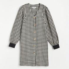 Reserved - Sukienka ze wzorem w pepitkę - Czarny