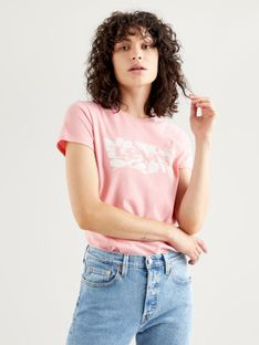 """Levi's """"The Perfect Tee"""" Batwing Fill Artistic Shapes Peony"""