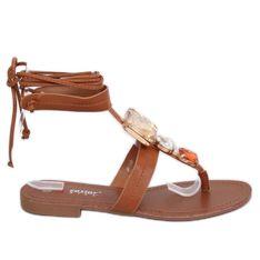 Sandałki japonki z kamieniami camel JH126P Camel brązowe