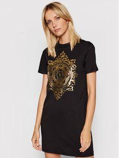 Versace Jeans Couture Sukienka codzienna V-Emblem Leaf 71HAOF05 Czarny Regular Fit