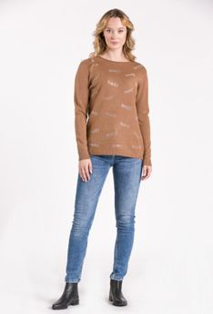 Sweter z połyskującym napisem