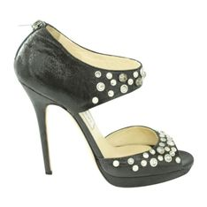Skórzane sandały z kryształkami